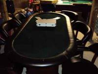 professional poker table, solid wood with leather trim
