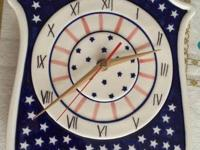 Great new inventory Polish Pottery Clock. Battery