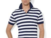 This striped polo features Coolmax moisture-wicking