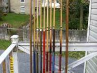 Pool cues,cue rack,ball rack,balls all for $45.00