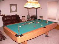 Beautiful Harvard oak pool table, excellent condition,