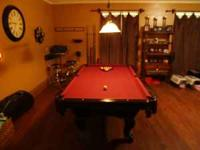 8' dark cherry slate pool table, comes with all