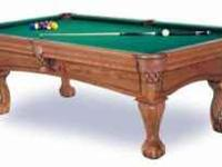 Fischer Oak Clawfoot 8 ft Pool Table Excellent