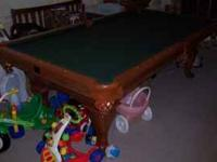 Pool Table, Kasson, fruitwood, Queen Anne feet, Leather