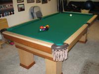 8 ft custom built pool table for sale. Maple and