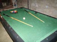 "78"" Pool Table (Silver and Black frame with Green"