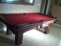 "Used Pool table 90""L x 51""W x 31""H good condition."