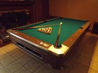 Bar room style slate pool table, heavy duty, recovered