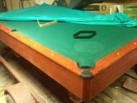 FULL SIZE POOL TABLE ALL BALLS 2 STICKS RACK 9 BALL