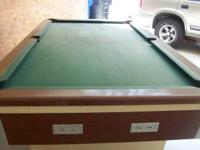 8 ft Slate bar style pool table,balls and sticks in