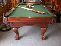 8' Solid Maple pool table with full 3 piece diamond