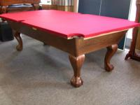 8' medium oak Leisure Bay pool table in excellent