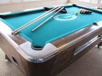 Valley Pool Table, slate top, green bay packer on felt