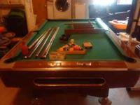 """POOL TABLE 8 FT WITH 1"""" THICK ONE PIECE SLATE TOP WITH"""