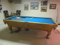 Solid oak Connelly Pool Table, 3 slate, claw foot legs,