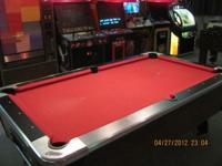 Pool table, coin operated game. Many more games