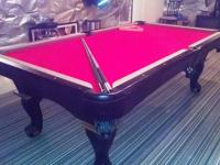 Slate Pool Table for sale. Wall rack, cues, pool balls,