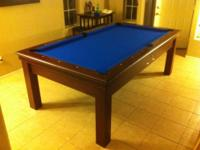 8' Custom made pool table w/blue felt top, Serial #