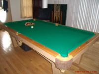 8' PEARL-WICK POOL TABLE, CUSTOM BUILT, LEATHER