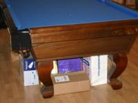 8' very sturdy pool table, 3/4 in solid slate table;