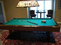 VINTAGE BRUNSWICK V.I.P. 9 FT. POCKET POOL TABLE. FULL