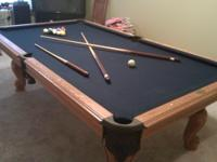 8 ft. Oak pool table, beautiful blue felt, italian