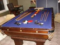 3 slate, 8.5' pool table, bumpers have good response,