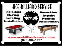 With over 20 yrs exp ACE BILLIARD SERVICE has worked on