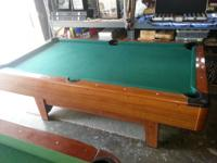 Pool table, wood, not slate, excellent felt, good