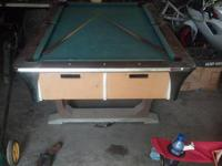 Pool table with triangle and 2 cues. Have 4 more that