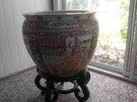 Huge, extremely heavy Procelain, Chinese Fish Bowl with