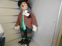 PORCELAIN EMMETT KELLY DOLL. NO BOX BUT HANDS STILL