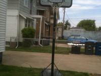 Portable basketball hoop for sale for $75 (firm). This