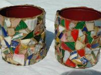 "Vintage Mosaic Pots    70+ years Old  5 3/4"" Tall, 5"