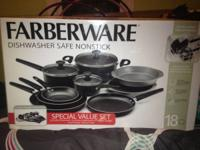 I have an 18 piece Farberware pans and pots set brand