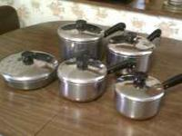Complete set of Revere ware pots and pans - all pieces
