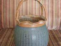 Clay Art Pottery Blue Handled Basket. Very nice piece