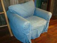 "We have 2 Pottery Barn ""PB Basic Armchairs"" with blue"