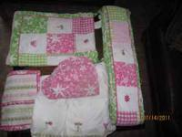 Beautiful pink and green Pottery Barn girls crib set!