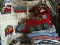 Pottery Barn Kids Train Junction Crib bedding. Includes