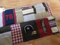 POTTERY BARN KIDS FOOTBALL QUILT, TWIN SIZE.. DISPLAYED