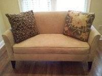 "Pottery Barn Loveseat. Approximately 56"" wide, 26"" deep"
