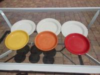 6 large white plates for $15 12 colorful plates for