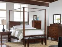 QUEEN CANOPY BEDROOM SUIT INCLUDES BED, DRESSER, MIRROR