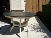 Pottery Barn style round table beautifully antiqued
