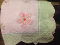 Pottery Barn Kids Pink and Green Full size Quilt, 2