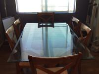 Dining table set from Poundex with 6 chairs. The table