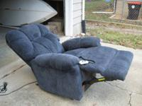 Very comfortable  pretty slate blue fabric recliner