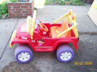 Power Wheels Dora Jeep. needs a battery 50.00 call mike