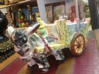 "Priceless Ceramic Donkey Cart. 13"" Wide x 10"" High."